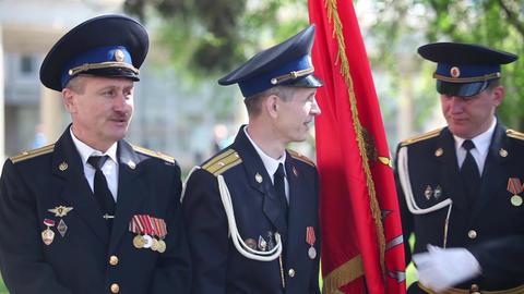 military flag bearers Footage