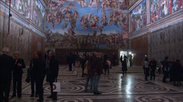CROWD IN SISTINE CHAPEL VATICAN POPE HOUSE stock footage
