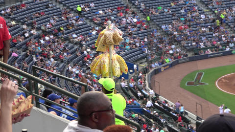 Selling popcorn during a Baseball match - ATLANTA / GEORGIA - APRIL 20, 2016 Live Action