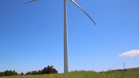Wind generator in a field of grass Live Action