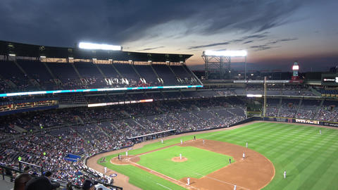 A Baseball match at Turner Field Atlanta in the evening - ATLANTA / GEORGIA - AP Live Action