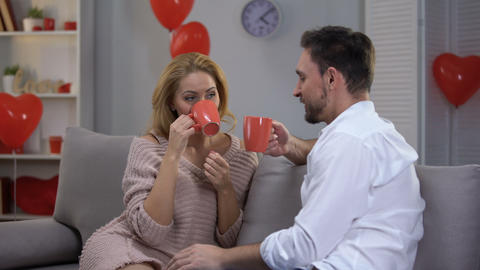 Couple on couch having nice conversation and drinking coffee, togetherness Footage