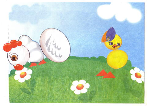 Children drawing chicken and egg Photo