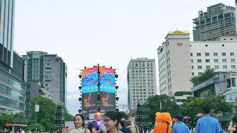 New year countdown gathering, Ho Chi Minh City, Vietnam GIF