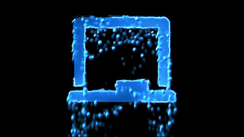 Liquid symbol chalkboard appears with water droplets. Then dissolves with drops Animation