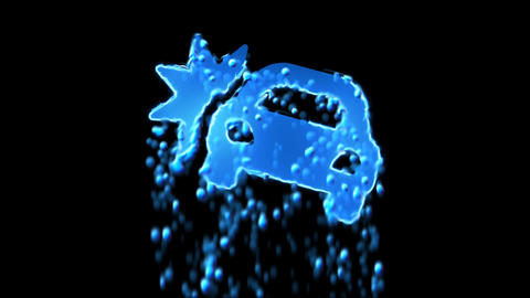 Liquid symbol car crash appears with water droplets. Then dissolves with drops Animation
