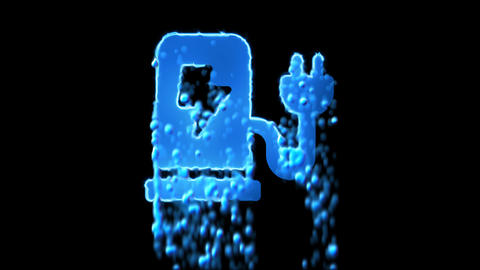 Liquid symbol charging station appears with water droplets. Then dissolves with Animation