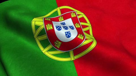 Portugal Flag Seamless Looping Waving Animation Animation