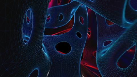 Flying through a lowpoly organic tunnel. Seamless neon retro futuristic Animation
