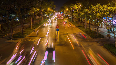 Time lapse of traffic in Ho Chi Minh city at night Footage