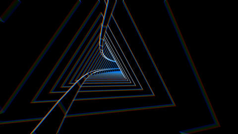 Geometric laser lowpoly tunnel with beat reactive chromatic distortion. Seamless Animation