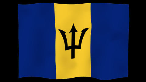 Flag of Barbados, 60 fps, slow motion, lopped, alpha channel Animation