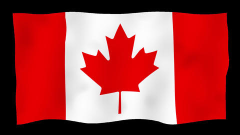 Flag of Canada, 60 fps, slow motion, lopped, alpha channel Animation