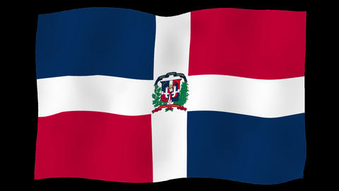 Flag of Dominican Republic, 60 fps, slow motion, lopped, alpha channel Animation