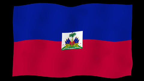 Flag of Haiti, 60 fps, slow motion, lopped, alpha channel Animation