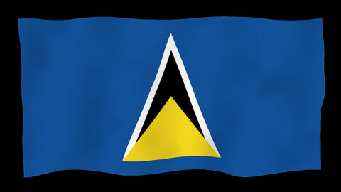 Flag of Saint Lucia, 60 fps, slow motion, lopped, alpha channel Animation