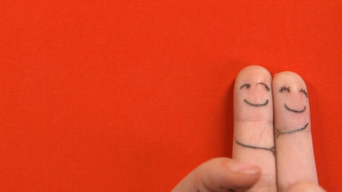 Sad finger face looking at romantic couple top view, love triangle, betrayal Live Action