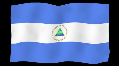 Flag of Nicaragua, 60 fps, slow motion, lopped, alpha channel Animation