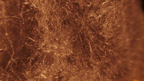 Fire spreads rapidly through steel wool, a lot of sparks Live Action