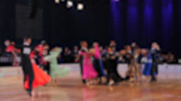 Ballroom dancing. Slow motion of anonymous defocused people dancing standard Archivo