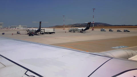 Grounded airplanes tarmac view at Athens airport Live Action