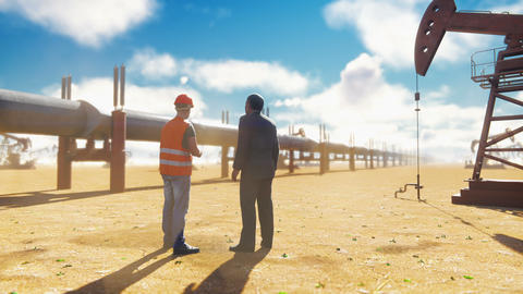 Oilman and businessman talking near the pipeline on a…, Stock Animation