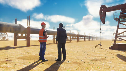 Oilman and businessman talking near the pipeline on a Sunny day on the Animation