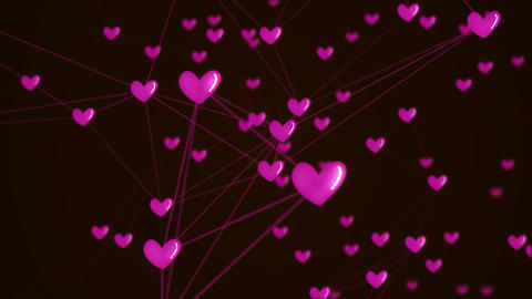 Social network heart connection with love icon structure motion graphic pink Animation
