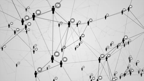 Social network connection molecule structure motion graphic black color white Animation