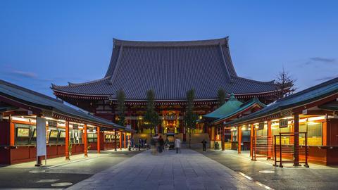 Tokyo, Japan time lapse of Sensoji Temple landmark in Tokyo, Japan Live Action