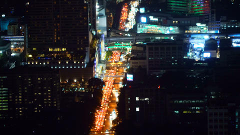 Traffic jam on Sathorn road, Bangkok Downtown. Financial district and business Live Action