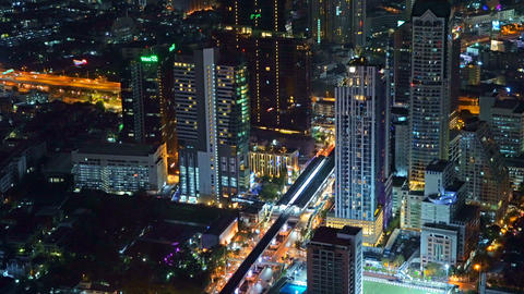 Time lapse of Sathorn road, Bangkok Downtown. Financial district and business Live Action
