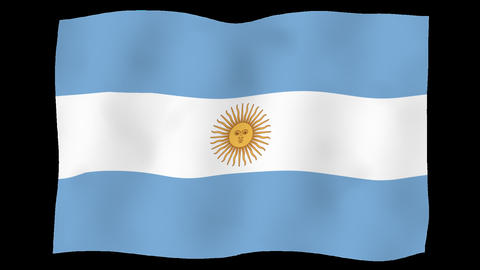Flag of Argentina, 60 fps, slow motion, lopped, alpha channel Animation
