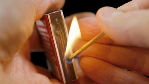 Close-up view to strike matches for matchbox, ignition matches for matchbox Live Action