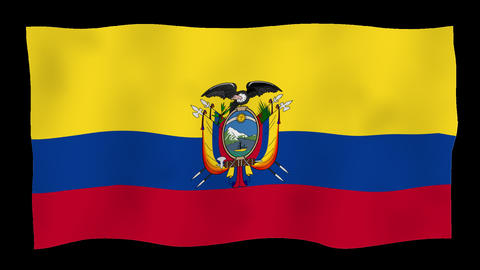 Flag of Ecuador, 60 fps, slow motion, lopped, alpha channel Animation