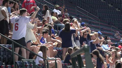 Fans enjoying Baseball game at Turner Field - ATLANTA / GEORGIA - APRIL 20, 2016 Live Action