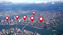 Aerial Manhattan Real Estate GPS Markers Footage