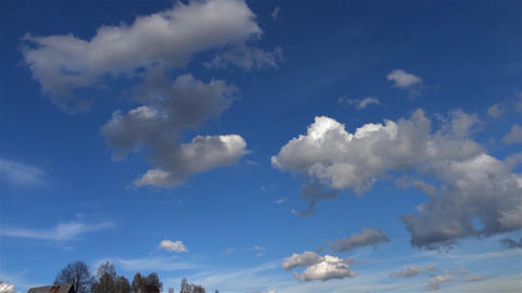 White clouds and fluffy which outpaced the blue sky in summer 15 Footage