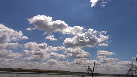 White clouds and fluffy which outpaced the blue sky in summer 39 Footage