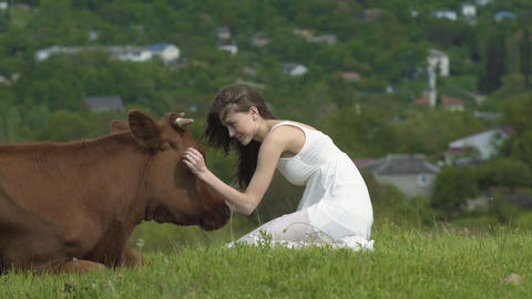 Happy Girl Strokes A Cow At Summer Day Footage