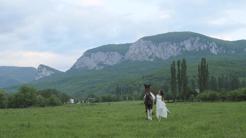 Girl In A White Dress With Horse Footage
