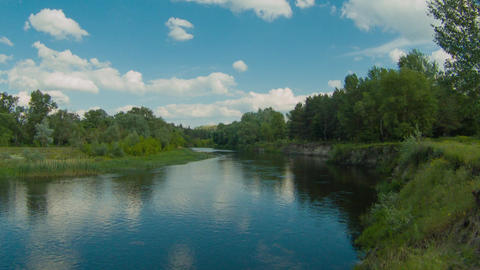 River timelapse with white clouds motion Footage