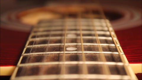 Vibration of the strings acoustic guitar Stock Video Footage