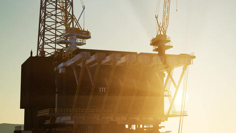 Image of oil platform while cloudless day Live Action