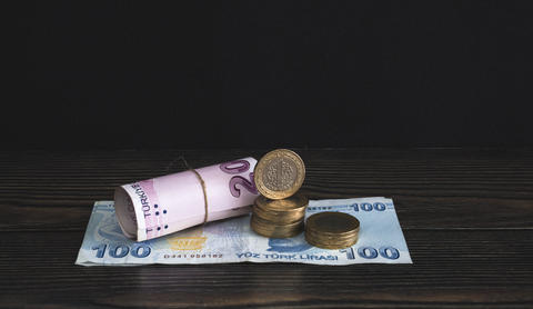 Turkish Money Paper And Coins Stock Photo フォト