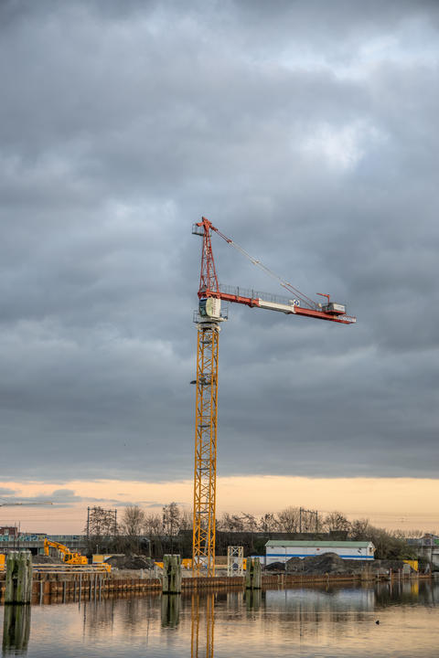 Crane At A Construction Site At Diemen The Netherlands 2018 Fotografía