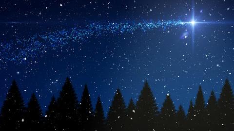 Falling snow and Christmas night starry sky and shooting star Animation