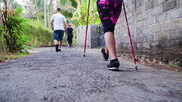 people do Nordic walking Footage