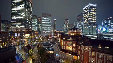 Tokyo railway station with high rise buildings. Downtown and financial district Live Action