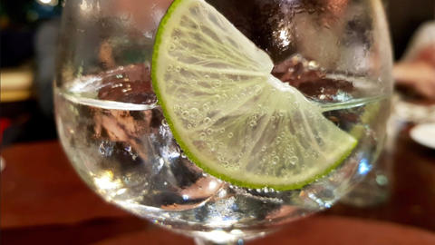 Gin tonic with lemon with cinemagraph effect Footage